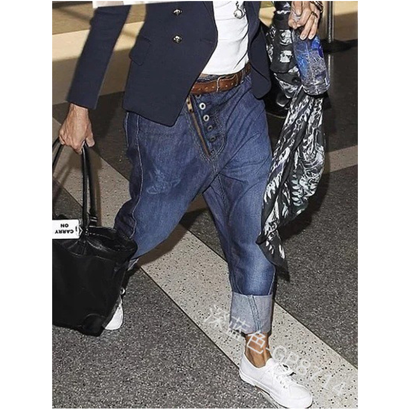 NIBESSER Men Harem Jean Pants Fashion Stylish Design Pockets Denim Pants Casual Men's Loose Low Waist Long Jeans Trousers 2020