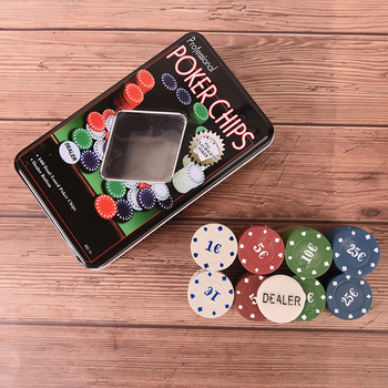 100Pc Professional Poker Chip 4 Denomination Set for Texas Hold'em Blackjack Roulette Tournament Poker Collection Lover image