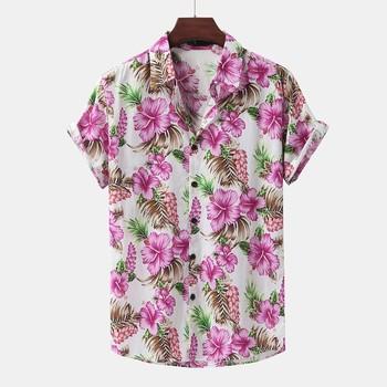 Tropikalne koszulki z guzikami dla mężczyzn kwiat wydruku hawaje bluzka bawełniana koszula z krótkim rękawem koszula z kołnierzykiem lato Top na co dzień tanie i dobre opinie YOUYEDIAN CN (pochodzenie) COTTON CASUAL KOSZULE CODZIENNE SHORT summer Wykładany kołnierzyk Jednorzędowe REGULAR Shirts