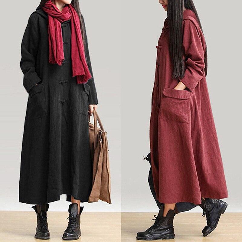 Винтажное хлопковое льняное платье для женщин, весеннее осеннее платье-рубашка с длинным рукавом и пуговицами, свободное повседневное