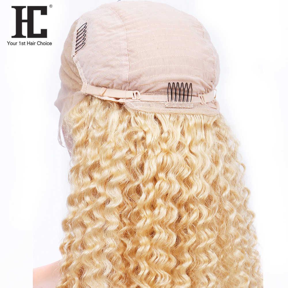 613 blond koronkowa peruka na przód brazylijska głęboka fala wstępnie oskubane z dzieckiem włosy przezroczyste koronki przodu peruki z ludzkich włosów Remy koronkowa peruka HC