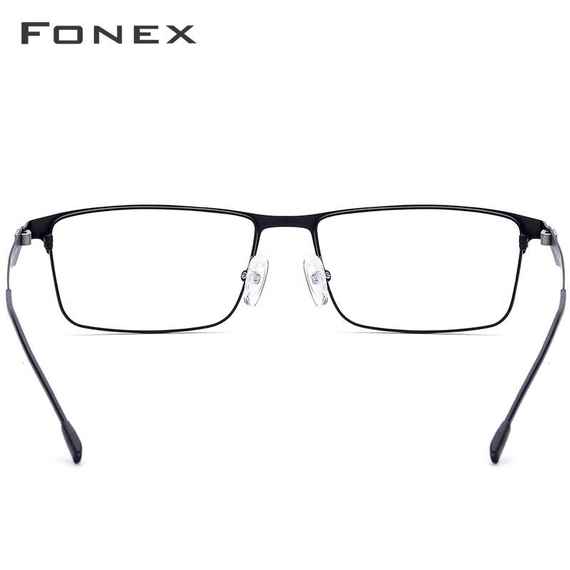 FONEX Alloy Glasses Frame Men Ultralight Square Myopia Prescription Eyeglasses Frames Metal Full Optical Screwless Eyewear