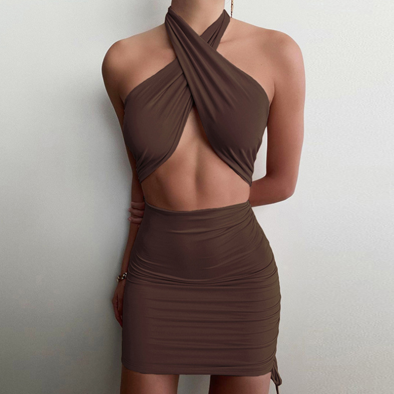 Halter Sexy Dress 2021 Summer Cross Bandage Dresses For Women Party Fashion Hollow Out Slim Hip Off Shoulder Wrap Vestido Black 8