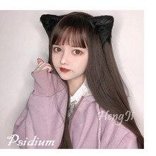 Uwowo peluca larga lisa de pelo sintético, pelo largo liso, color negro y marrón, Cosplay, Lolita, resistente al calor, para fiestas de Anime
