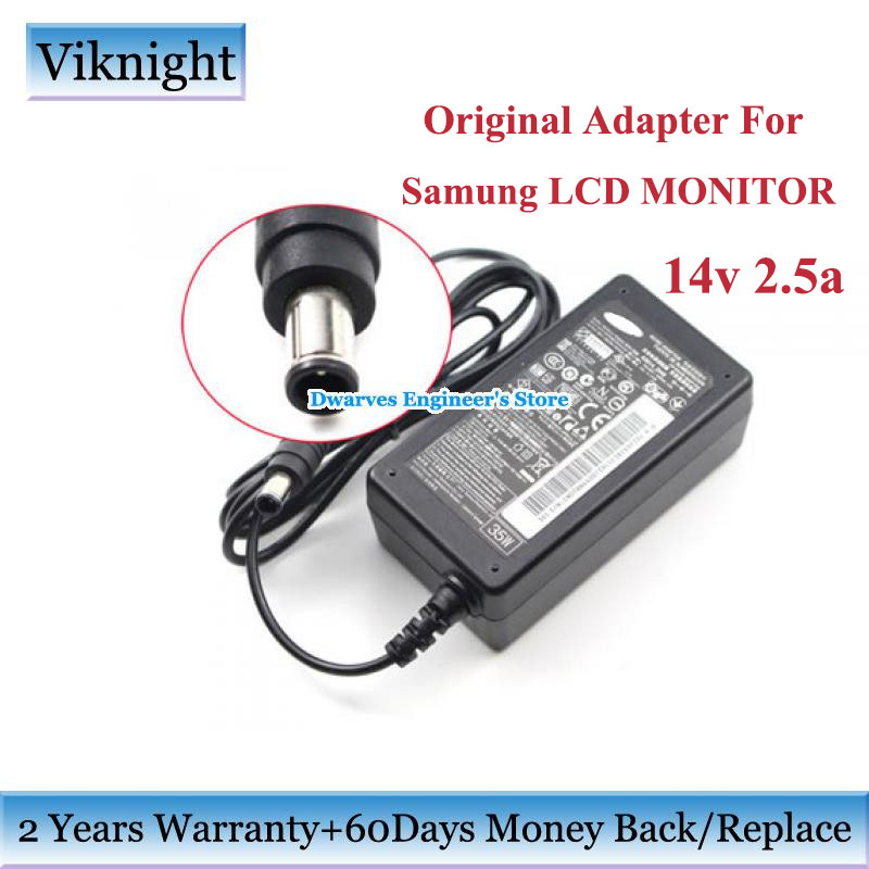 Genuine 14V 2.5A 35W LCD Monitor screen ac Power Adapter For <font><b>SAMSUNG</b></font> LS27D360 E227454 A3514 DHS A3514_DPN <font><b>SA300</b></font> Monitor Charger image