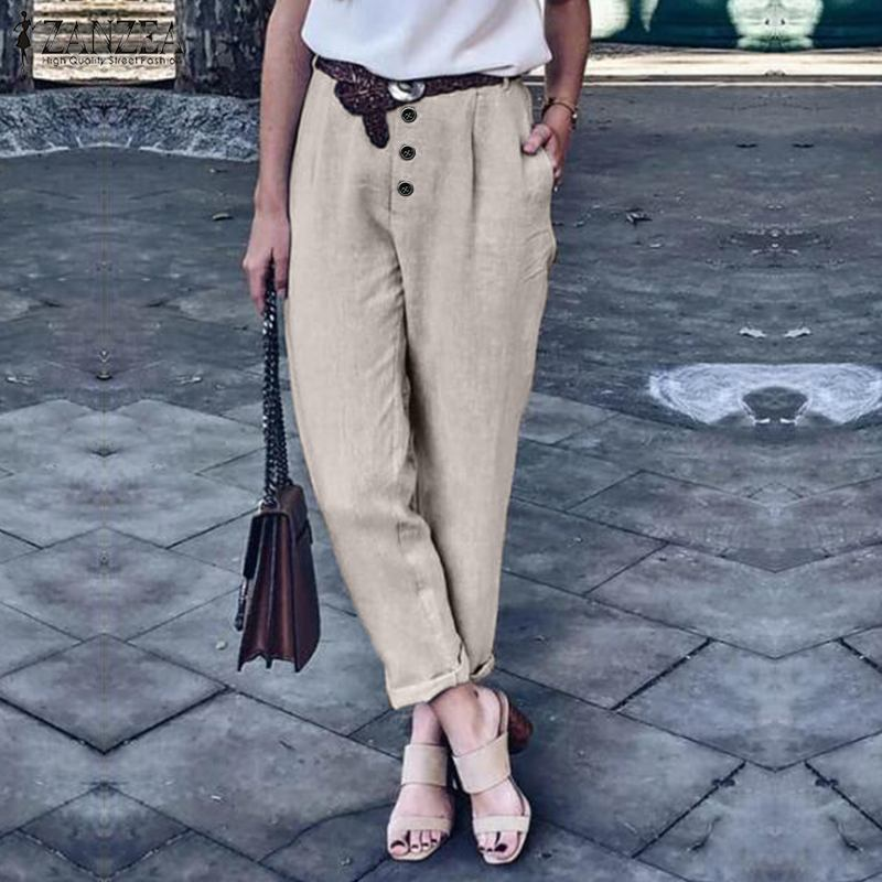 2020 Plus Size ZANZEA Casual Buttons Trousers Women Elegant Solid Pockets Cotton Work Turnip Pantalons Long Pants Female Palazzo