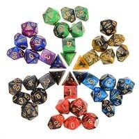 Dados poliédricos de varios colores para juego DND RPG, Set de dados divertidos con 6 bolsas, 42 Uds.