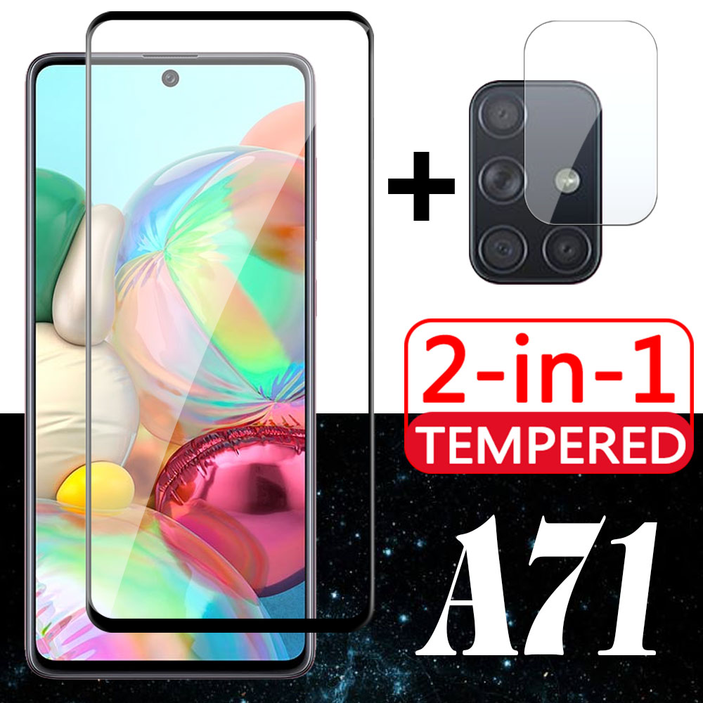 2in1 For Samsung Galaxy A71 Protective Glass and Camera Lens SamsungA71 Screen Protector samsun A 71 Tempered Glas film HD Case image