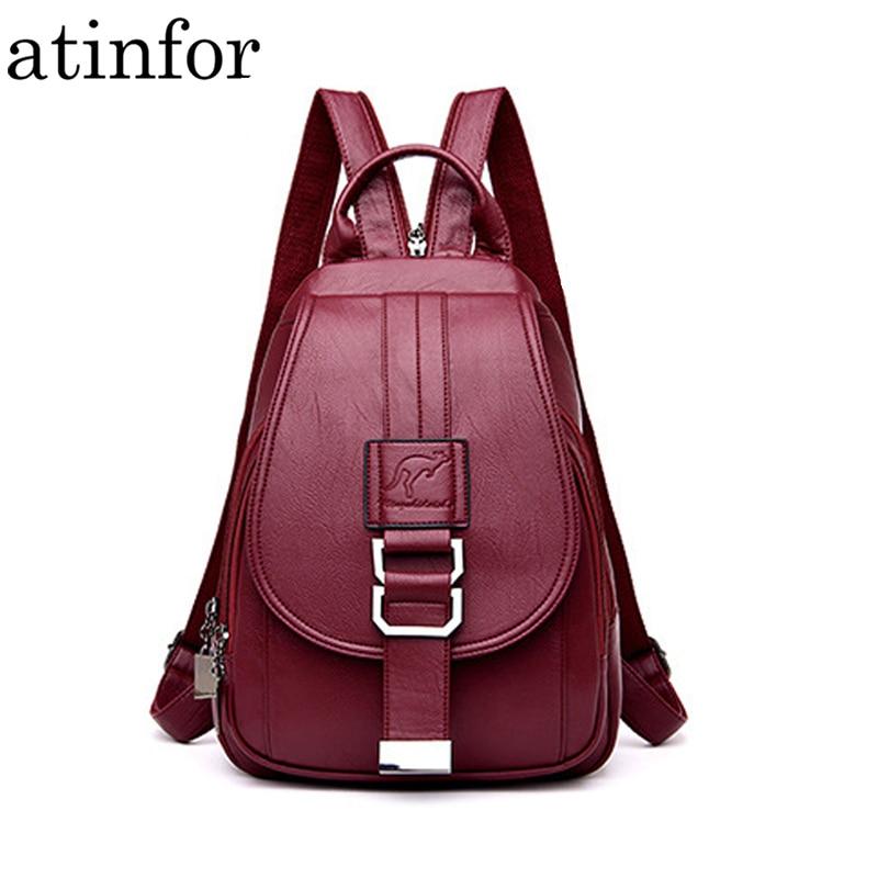 atinfor Brand Anti Theft Women Leather Backpacks Purse Vintage Female Shoulder Bag Travel Small Backpack Lady Innrech Market.com