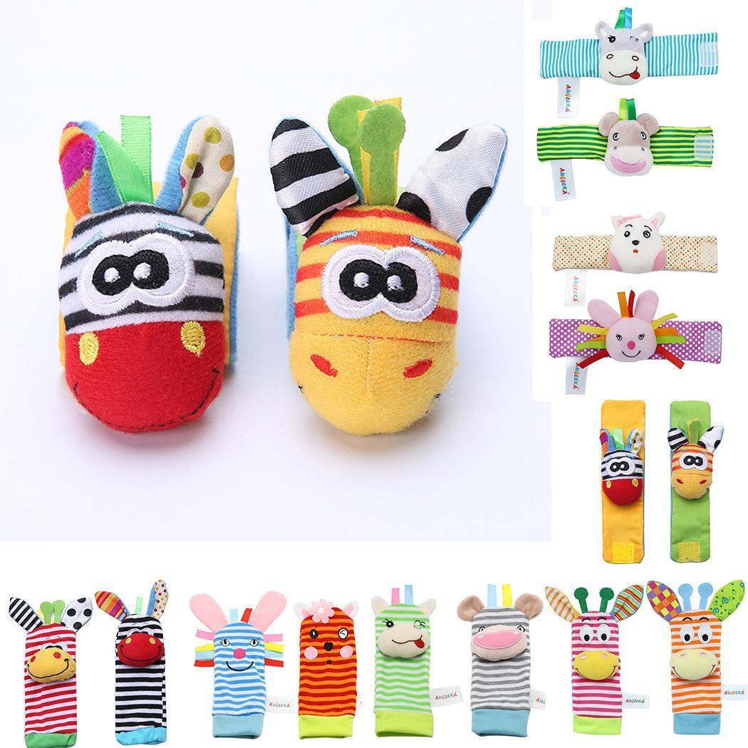 Infant Baby Wrist Rattles Foot Socks Rattle Cute Animal Random Soft Toys Rattle,