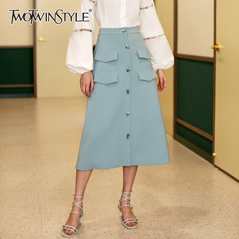 TWOTWINSTYLE Vintage A-line Skirt For Women High Waist Patchwork Pockets Split Midi Skirts Female Clothing 2020 Spring Fashion