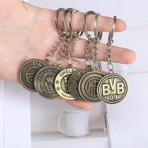 Football Keychain Real Madrid AC Milan Atletico Chelsea Liverpool Inter Milan Bronze Keychain Gift Pendant