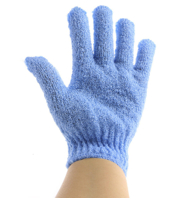 1 Piece Body Scrub Exfoliating Gloves Mitt Bath Shower Dead Skin Removal Exfoliator Elastic Five-Finger Bath Gloves Random Color 1