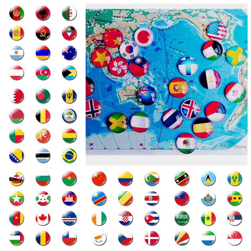 12PCS National Flag World Flag Sets Fridge Magnet China USA UK Spain Russia Germany Italy France Souvenirs Refrigerator Magnets(China)