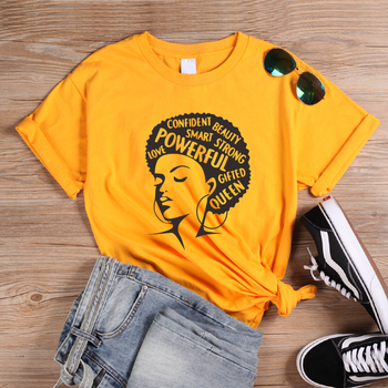 ONSEME Afro Lady Graphic T Shirts Feminist Tees Black Queen Girl Power Slogan T Shirt Women Melanin tshirt Streetwear Tops
