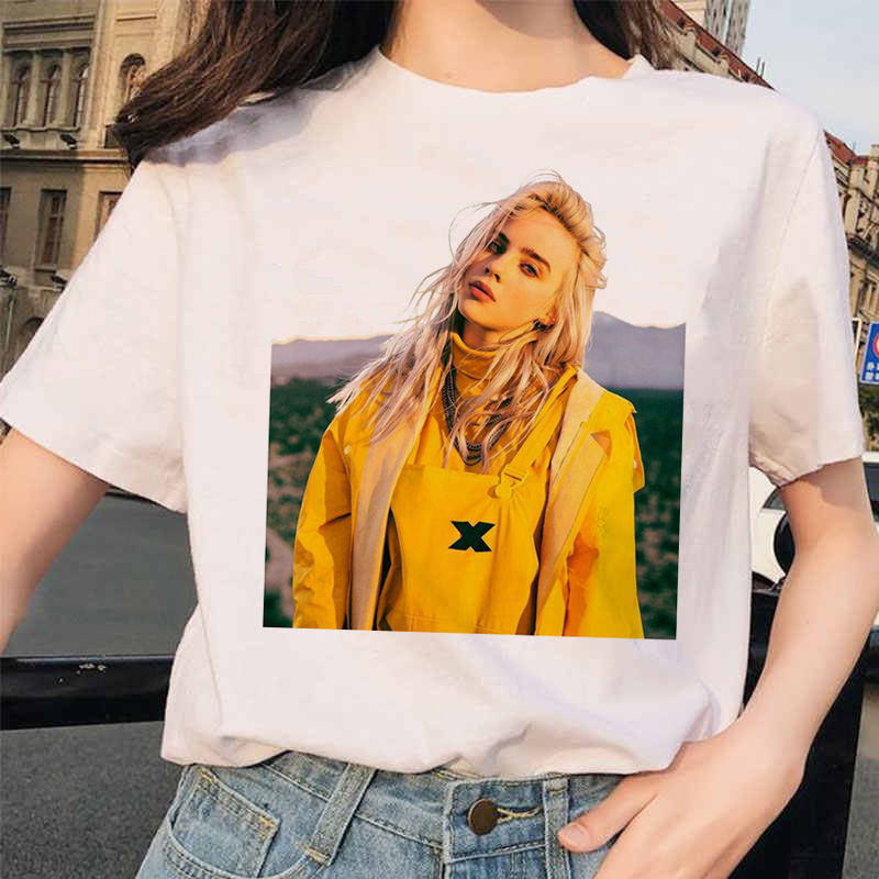 Billie Eilish T Shirt Streetwear Hop Ee -shirt For Op Vogue Women Shirt Harajuku Clothing Funny Vintage