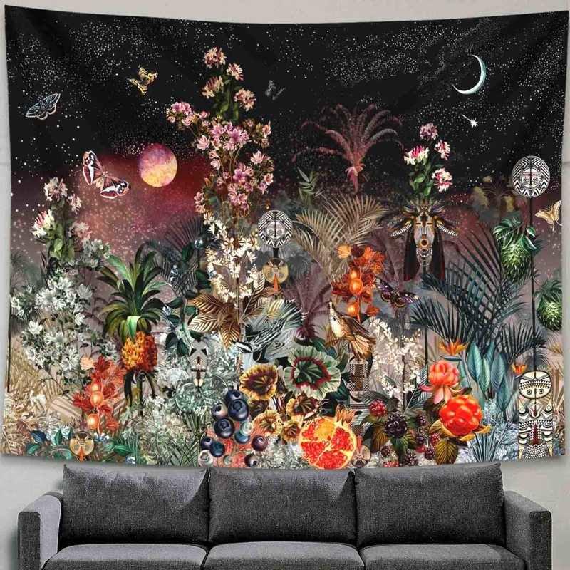פסיכדלי ירח כוכבים שטיח פרח קיר תלוי חדר שמיים שטיח במעונות שטיחי אמנות עיצוב הבית אבזרים