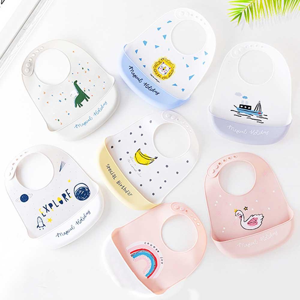Baby Silicone Bib Baby Feeding Stuff Bib Cloth Waterproof Baby Silicone Bibs Saliva Towel Ins Style Design 1Pc