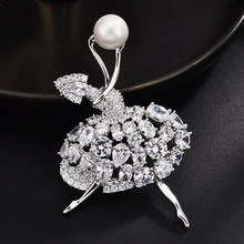 Gold Color Ballet Dancer Dancing Girl Pins Ballerina's Brooches Pins With Pearl For Women Luxuries Jewelri