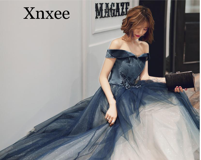 One-shoulder dress female 2020 new party temperament party starry gradient dress