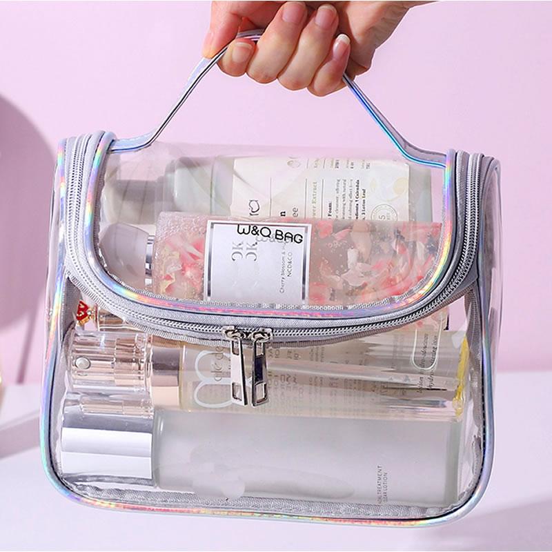 Fashion Transparent Laser Travel Makeup Bag Women Handbag Zipper Wash Organizer Storage Beauty Make Up Waterproof Cosmetic Case