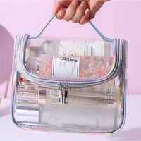 Moda transparente saco de maquiagem de viagem a laser bolsa com zíper lavagem organizador de armazenamento beleza compõem à prova dwaterproof água caso cosmético