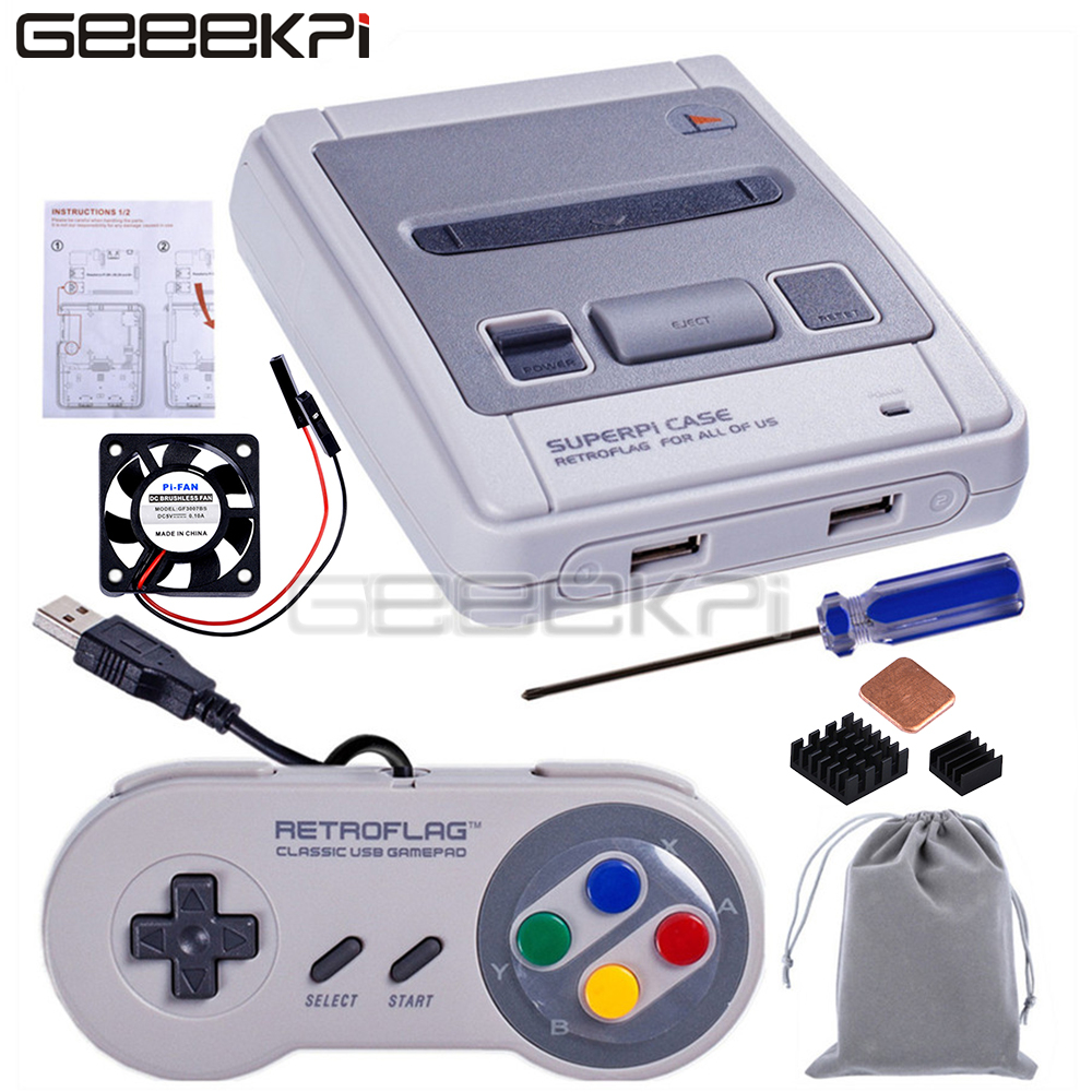 In Stock! GeeekPi Original Retroflag SUPERPi CASE-J NESPi Case With Optional Game Controller For Raspberry Pi 3B Plus (3B+)/3B