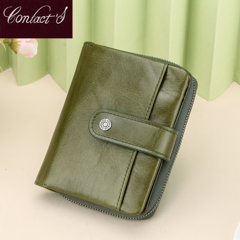 Genuine Leather Women's Wallet Green Purse Female Small Portomonee Rfid Wallet Lady Coin Purses For Girl Money Bag Cartera Mujer