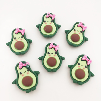 Hand Painted Resin Kawaii Colorful Green Baby avocado Flatback Stone 14PCS Scrapbook DIY Decor Home Figurine Crafts OG37 1