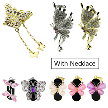 Memory Stick Necklace Usb-Flash-Drive U-Disk Diamond Usb-2.0 Jewelry Gift Butterfly Real-Capacity