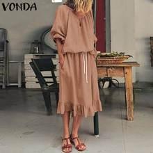 Elegant Dress Women Sundress VONDA 2020 Autumn Sexy Pockets Lantern Sleeve Party
