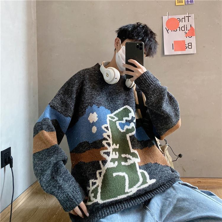 Camisola masculina streetwear retro padrão de chama hip hop outono novo pull over elastano o pescoço oversize casal casual camisolas masculinas|Pulôveres|   -