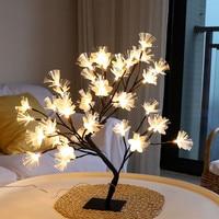 LED Sakura Baum Schreibtisch Licht Dekorative Nachttisch Lampen USB 36/48leds für Home Schlafzimmer Hochzeit Nordic Decor nacht Licht