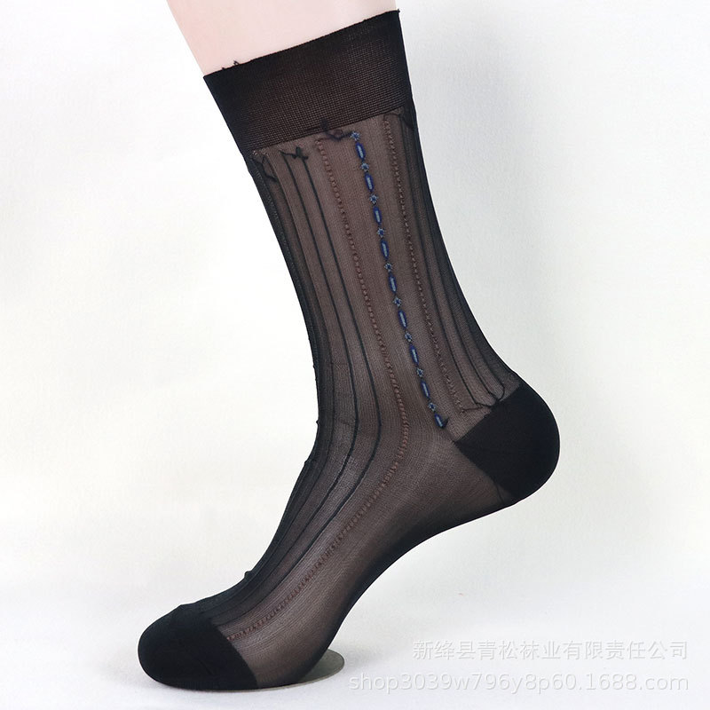 Tube Socks Dress Socks Gifts For Men Sheer Socks Exotic Formal Wear Suit Men Sexy Gay Transparent Stripe Business TNT Socks