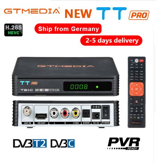 Récepteur de télévision terrestre GTMEDIA TT PRO DVB-T2/T récepteur de Tuner de télévision numérique HD MPEG4 DVB T2 H.265 DVB-C boîtier de télévision + 1 an CCCAM 5 lignes