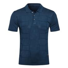 Billionaire polo shirt silk men 2021 New fashion Business short sleeve button British print plaid Breathable big size M-5XL