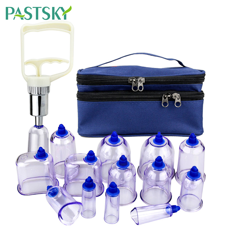 (13 Cups + 1 Suction Pump) Massage Vacuum Cupping Set Thicker Magnetic Therapy Jars Cupping Cans Cupuncture Massage Suction Cup
