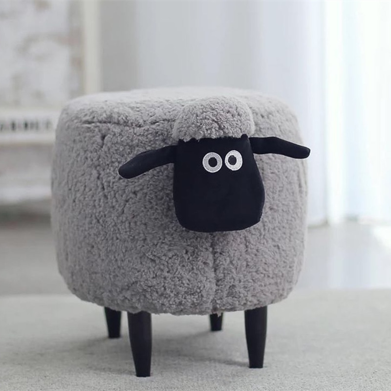 Creative Fashion Ins Wind Cartoon Adorable Animal Meng Sheep Mountain Alpaca Wear Shoes Storage Low Stool Chair