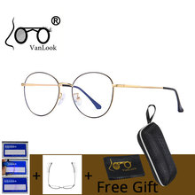 VANLOOK Computer Glasses Round Anti Blue Ray Light Blocking Fashion Metal Eyeglasses Frame Men Women Clear Lens Anti Radiation