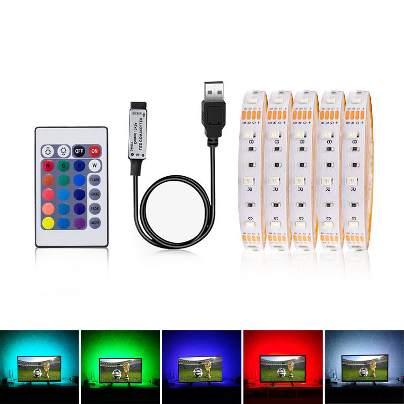 5V USB LED Strip Light 3528 RGB With Remote Flexible LED Light Tape Ribbon 0.5m 1m 2m 3m 4m 5m TV Backlight Warm White
