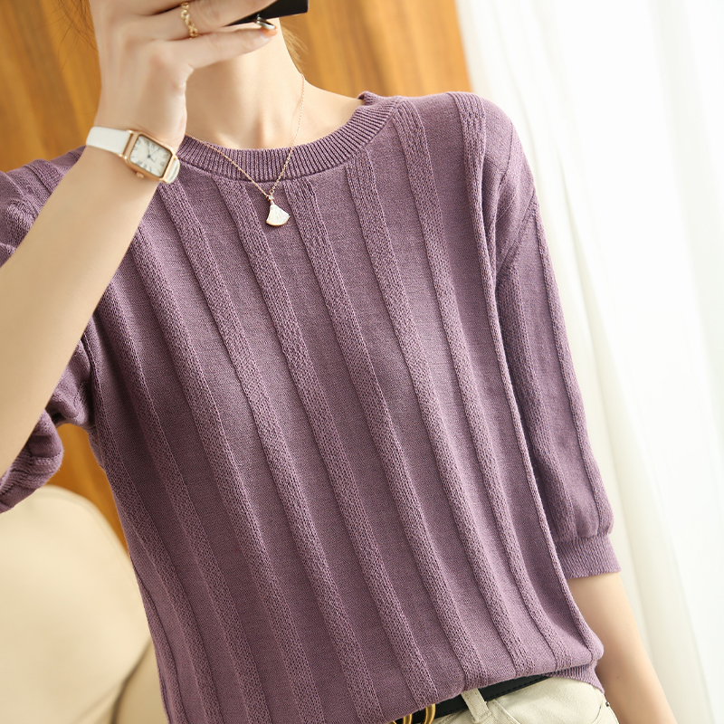 Summer Woman's Sweater O-Neck Short Sleeve Thin 100% Cotton Knitted Female Pullover Jumpers Tops Breathable Pull Femme Clothing