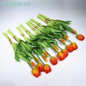 Image 2 - INDIGO   9 demet gerçek dokunmatik silikon lale yüksek kaliteli hollanda turuncu lale buket ev yapay çiçek düğün çiçek parti