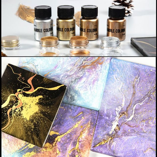 4 Color Mirror Metal Texture Pearl Powder Epoxy Resin Colorant Glitter Marble Metallic Pigment Resin Dye Jewelry Making 15g/box 2