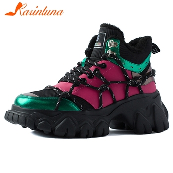 KARINLUNA Brand Lady Chunky Heels Cool Daddy Sneakers Casual Office Metallic Sneakers Women Geuine Leather Lace Up Shoes Woman