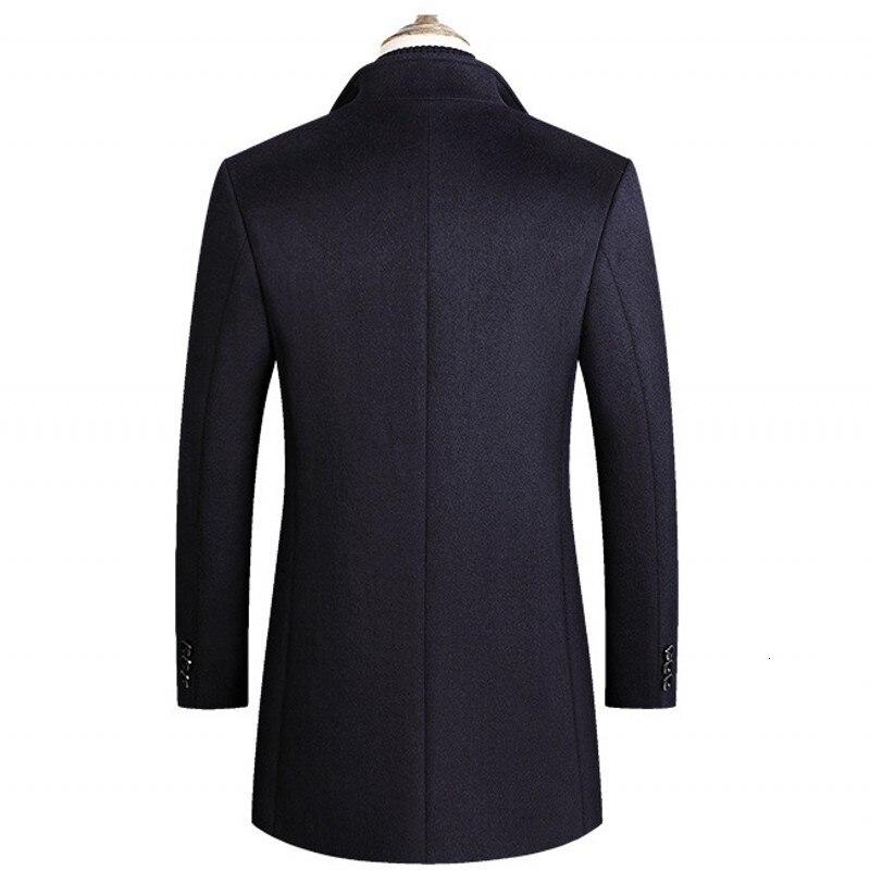 Smart casual осень зима твердые мужские шерстяные пальто с длинным рукавом