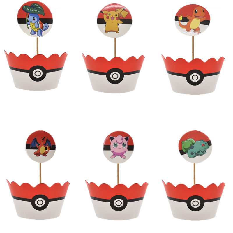 Pokemon Cake Topper Cupcake Wrapper Pikachu Party Decoration Birthday Party Supplies Paper Plates Cup Baby Shower Tableware Sets