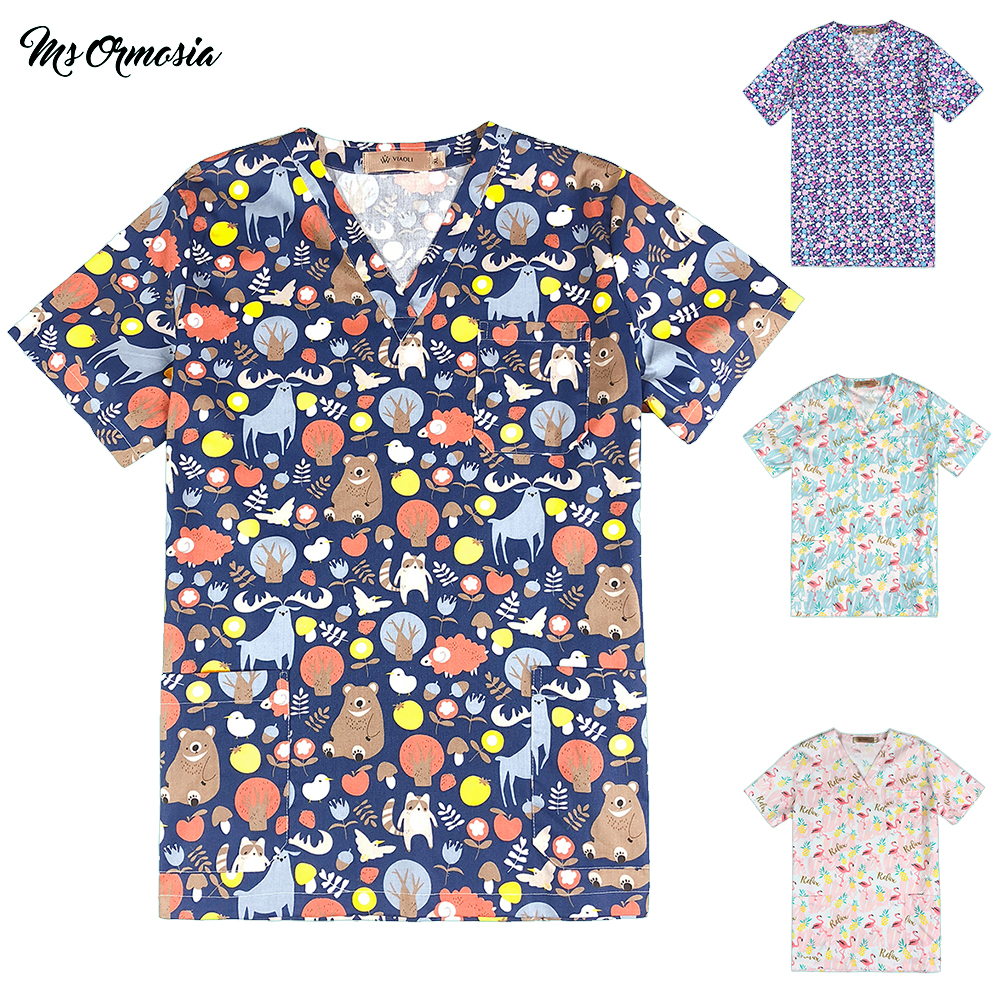 100% Cotton Medical Uniforms Printed Nurse Uniforms Women's Scrub Top V Neck Shirt Surgical Doctor Clothing Workwear Medical Top