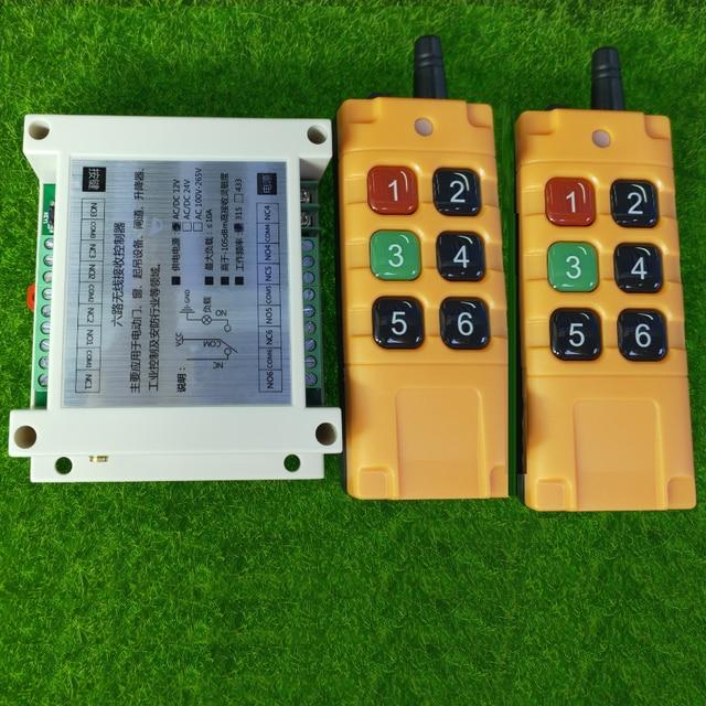 500 2000m DC12V 24V 6CH 6 CH אלחוטי שלט רחוק LED אור מתג ממסר פלט רדיו RF משדר 315/433 MHz מקלט