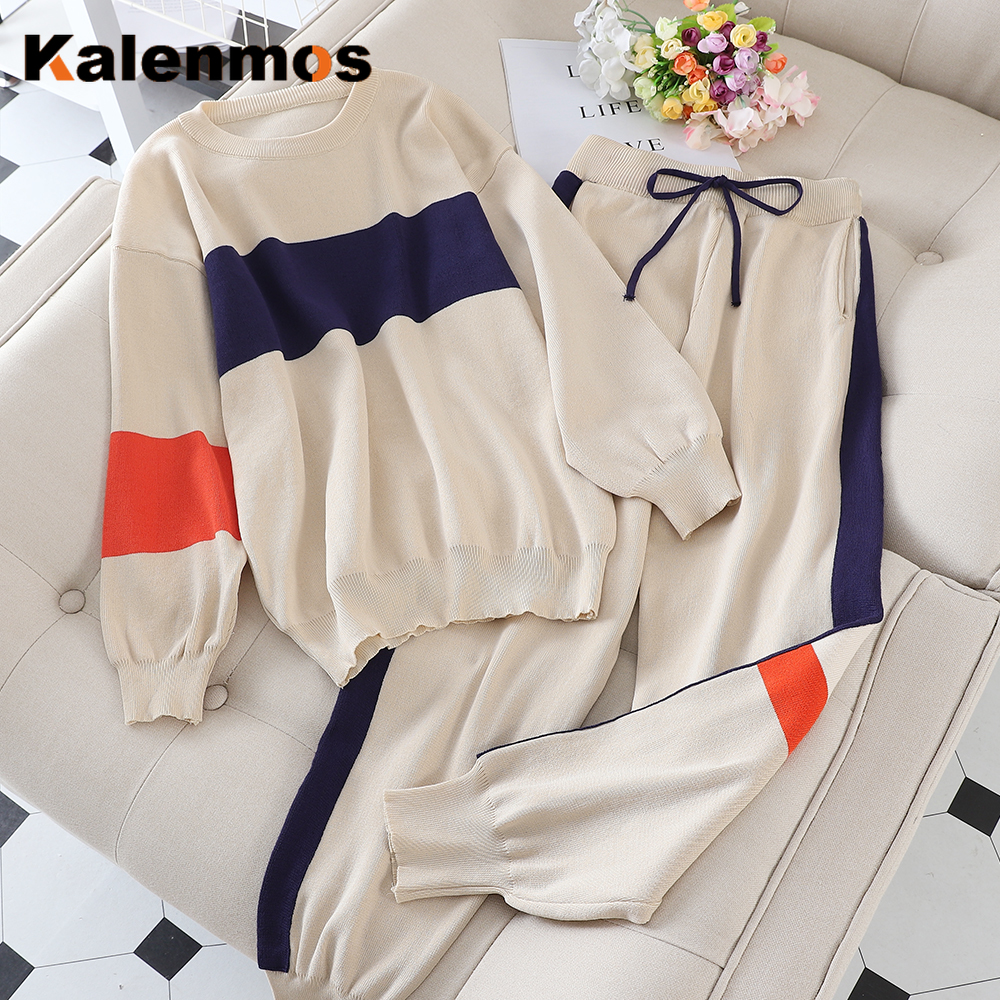 2 Piece Outfit Tracksuit Women Knit Spring Autumn Korean Sweatshirt Jogging Pullover Sports Suits Long Loose Pants Sets KALENMOS