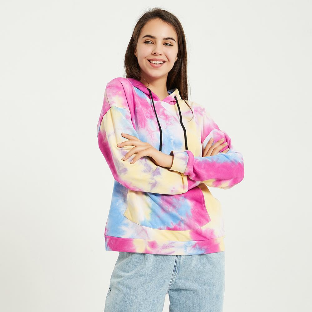 Wixra Womens Tie-dye Sweatshirts Femme New Fashion Hot Hoodies Pocket Long Sleeve Autumn Winter Casual Streetwear Tops 3